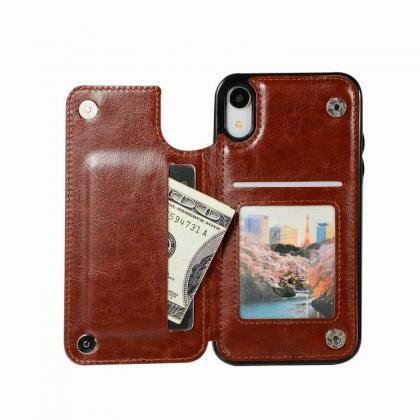 Retro Leather Wallet Card Holder Ca..