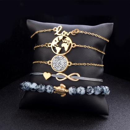 5pcs/set Fashion World Map Turtle L..