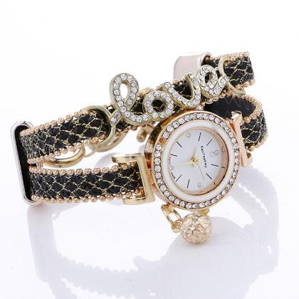 Luxury Crystal Love Wristwatch Leat..