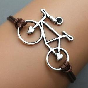 2pc Silver bike Bracelet Wax Cord B..