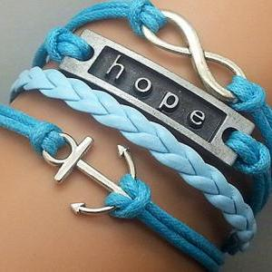 Infinity Hope & Anchor Bracelet Cha..