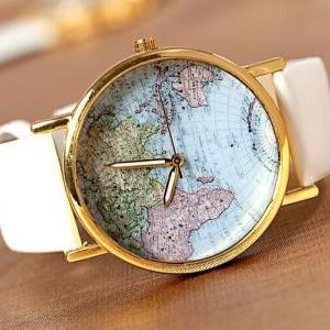 The world map Leather Women Watch -..
