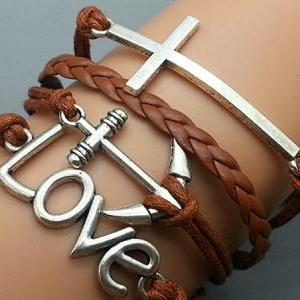 Cross Love & Anchor Bracelet Charm ..