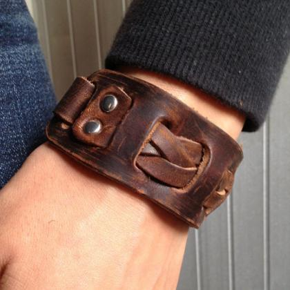 Men's Brown Leather Cuff Bracelet, ..