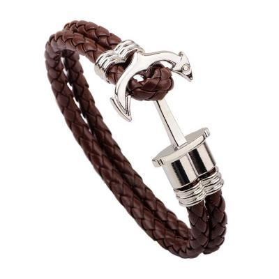 New Fashion Charm Leather Anchor Bracelets For Men Leather Bracelets Hooks Bracelets