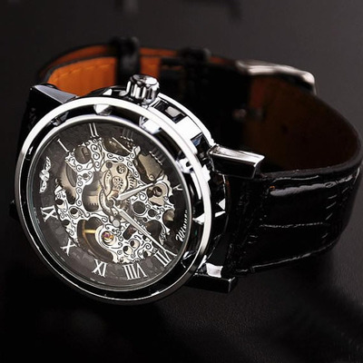 Black Watch Mens Mechanical Wristwatch Mens Leather Watch