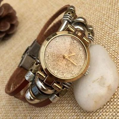 Fashion Womens Diamond Watch Leather Wrap Bracelet Watch Beaded Watch