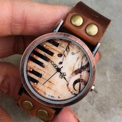 Retro Style Piano Leather Watch Womens Wristwatch Everyday Watch Fashion Jewelry Gift