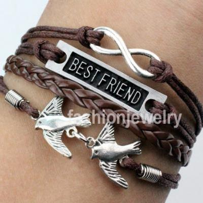 Infinity Bracelet Best Friend Bracelet Two Birds Bracelet-Brown Leather Ropes Hand woven Bracelet Friendship gift