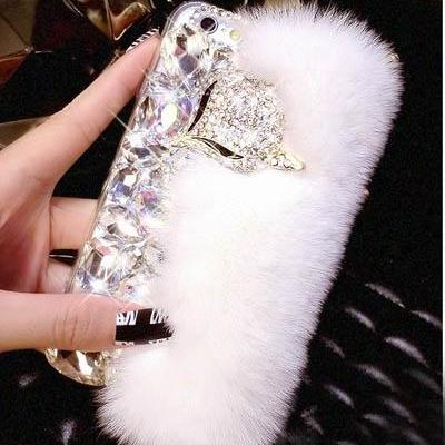 Fox Case Fur Case Luxury Bling Case Cover for iPhone 4 4s 5 5s se 6 6s plus Rhinestone iPhone Case (7 colors)