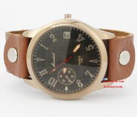 Men's leather watch,..