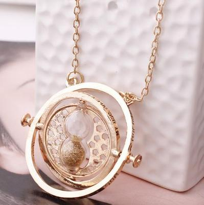 2017 Fashion Harry necklace time turner necklace hourglass Potter Necklace Hermione Granger Rotating Spins