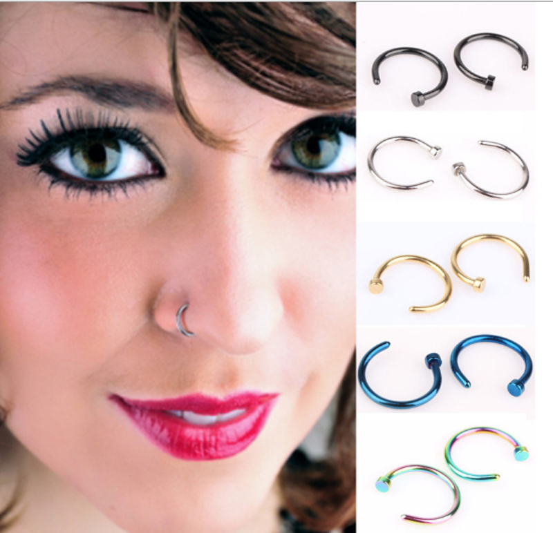 New Fashion 2pcs/Lot Fake Nose Ring Lip Ring C Clip Nose Rings Hoop for Women Body Jewelry