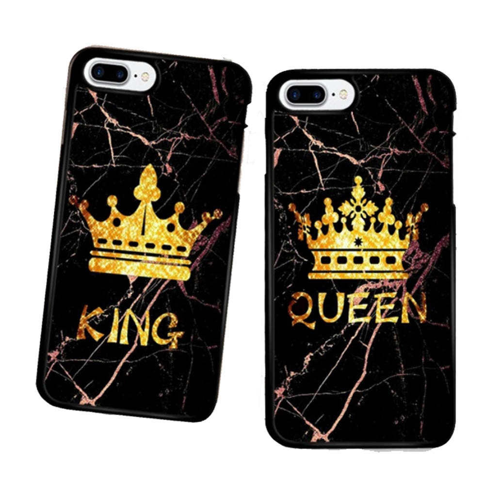 2pcs/set Marble Pattern King Queen Design Phone Case cover for iPhone XS MAX XR XS X 8 7 6 6s Plus & Samsung Galaxy S7 s8 s9 Plus case
