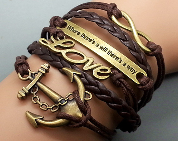 Anchor-Love-Motto-Infinity Bracelet Brown wax cord Brown Braided Leather Antique Bronze Cute Personalized Jewelry friendship gift Wholesale