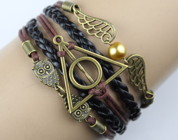 Harry Potter Deathly Hallow Bracelet, Harry Potter Snitch, Owl Wing Bracelet,Bead Bracelet, Gift For Girl Friend,Boy Friend