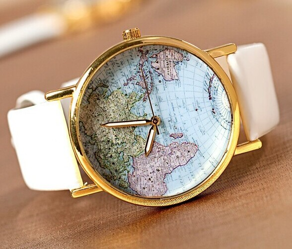 The world map Leather Women Watch -Vintage Style Leather Watch, Women Watches, Unisex Watch,White Leather Watch,