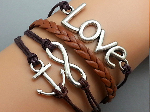 Cross Anchor & Love Bracelet Silver Bracelet Brown Korean Wax Cords Leather Charm Bracelet Personalized Bracelet