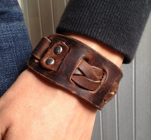 Men S Brown Leather Cuff Bracelet Wrist Band Wristband Handcrafted Jewelry