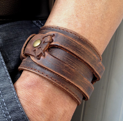 Cuff Bracelet Antique Men S Brown Leather Wrist Band Wristband Handcrafted Jewelry
