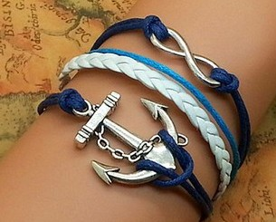 Infinity Bracelet Anchor Wax Cords Braided Leather Charm Women