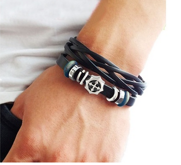 Fashion Couple Bracelet Bangle Jewelry made of black leather, bead and cross bracelet, women leather bracelet, men bracelet with metal woven snappers adjustable