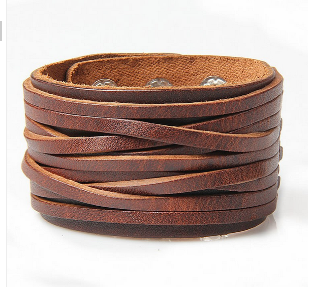 High Quality Geniune Leather Bracelet Punk Rock Bracelet Leather Wrap Bracelet Fashion Bangle Jewelry