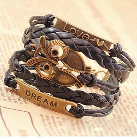 Multi-Layer PU Leather Bangle Bronze Owl Wristband Bracelet