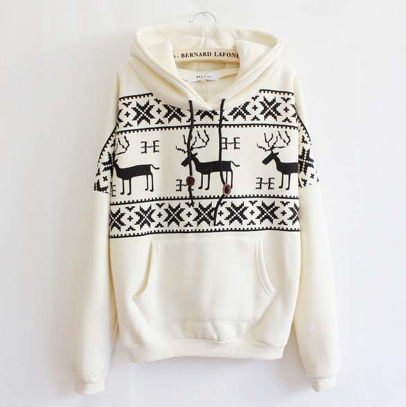 Fashion womens girls Lovely Fawn Printed Hoodies Fleece Sweater