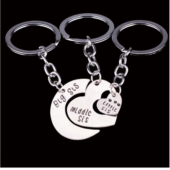 Big sis middle sis little sis Heart shaped Keychain