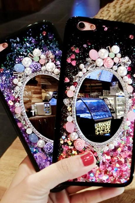 Dynamic Liquid Mirror Rhinestone Bling Glitter Quicksand Case Cover For iPhone 7 6 6S Plus Phone Back Cases