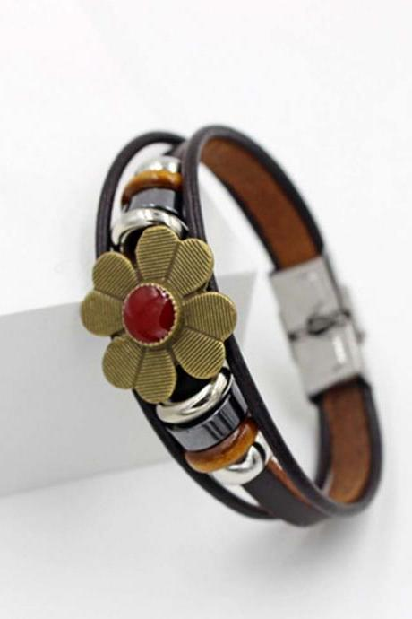 Women's Fashion Flower Leather Bracelet Stainless Steel buckle Bracelet
