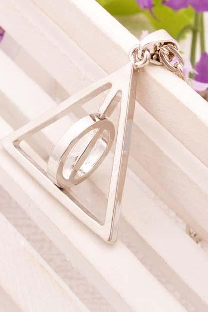 Harry Potter Necklace Rotate Triangle Pendant Necklace Fashion Jewelry Gift