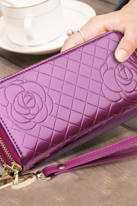 Women's Purse Zipper Geniune Leather Wallet Case Female ID Card Holder Purse Phone Case Money Bag