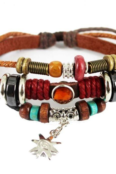 Vintage Bracelets & Bangle Multiple Layers Leather Bracelet Handmade Punk Jewelry for Women Man