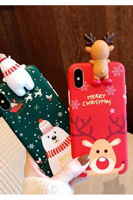 Cute Cartoon Christmas Deer Snowman Soft TPU Case Cover for iPhone 6 6s 7 8 Plus X XS XR XS MAX