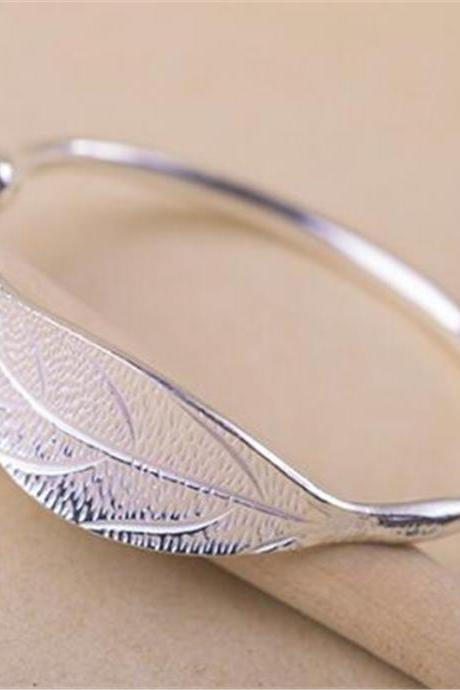 New Fashion 925 Sterling Silver Leaf Opening bracelet for Women girls Lady