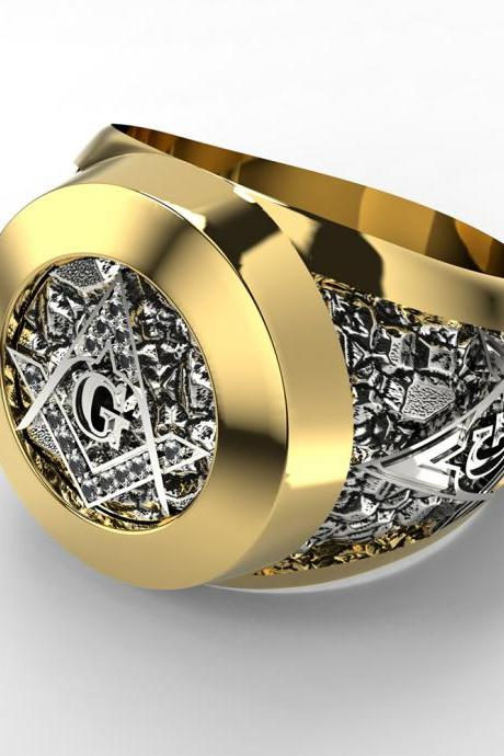 Men's Fashion Stainless Steel Freemason Masonic Band Ring