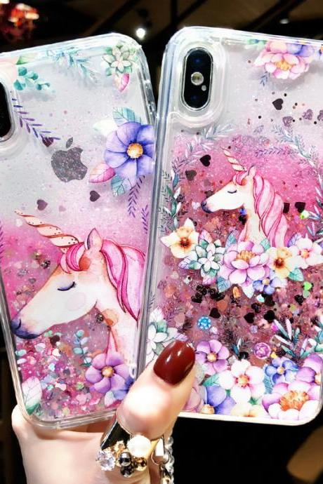 New Fashion Cute Cartoon Unicorn Liquid Quicksand Case Cover for iPhone XS MAX XR XS X 8 7 6 6S Plus