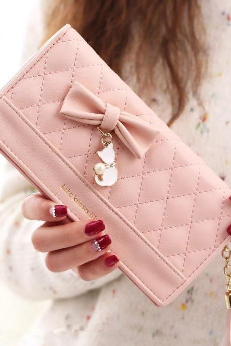 2019 New Fashion Women Long Wallet Purse Tassel Bow Cute Cat Pendant Money Card Phone Leather Zipper Clutch