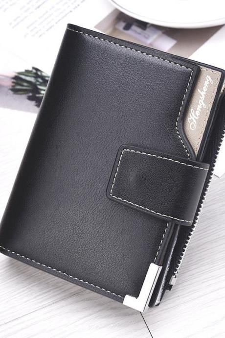 Men Leather Wallets Short Male Clutch Mens Money Bag