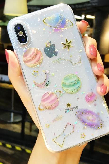 Fashion Planet Space Transparent Phone Case Cover for iPhone XS MAX XR XS X 8 7 6 6S Plus