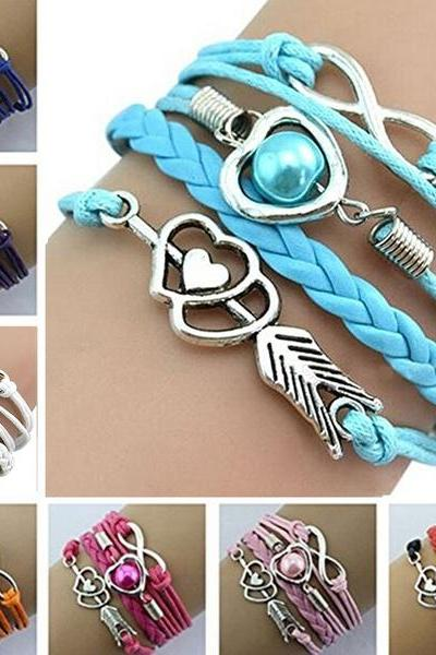 Silver Infinity Heart Lover Pearl Charm Bracelet Multilayer Leather Braided Bracelet For women girls jewelry Gift