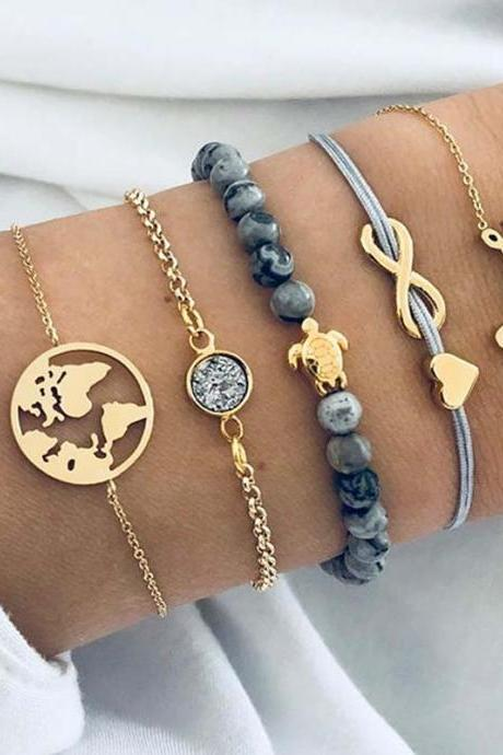 5pcs/set Fashion World Map Turtle Love Heart Infinity Charm Bracelets Set Fashion Jewelry Girls Gift