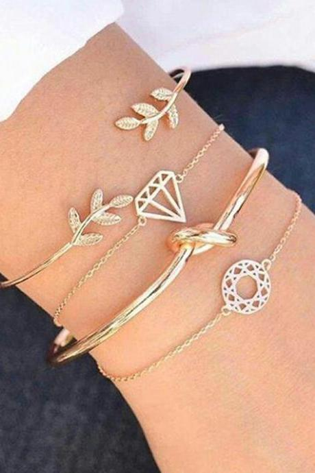 4pcs/set Leaves Knot Round Chain Gold Bracelet Set Women Fashion Jewelry Gift