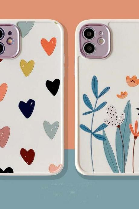 Soft Flower Leaf Love Heart Phone Case For iPhone 12 11 Pro Max X XR XS Max 12 Mini 7 8 Plus SE 2020