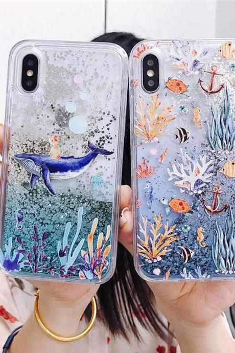 Dolphin Coral Liquid Glitter Case for iPhone 12 Mini 11 Pro Max XS XR X 7 8 Plus Soft TPU Ocean Whale Cover for iPhone 6 6S Plus