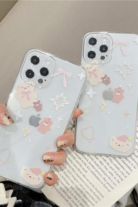 Cute Bear Phone Case For iPhone 12 11 Pro Max X XR XS Max 12 Mini 7 8 Plus SE 2020 Clear phone cover