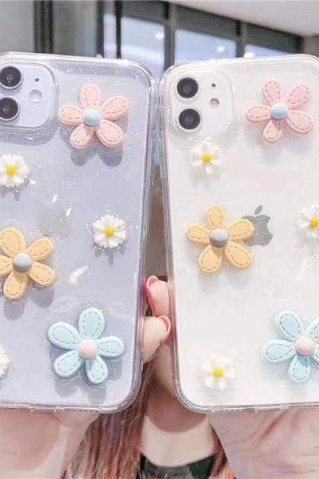 Beautiful Daisy Case For iPhone 12 11 Pro Max X XR XS Max 12 Mini 7 8 Plus SE 2020 Clear phone cover for iPhone 6 6S Plus