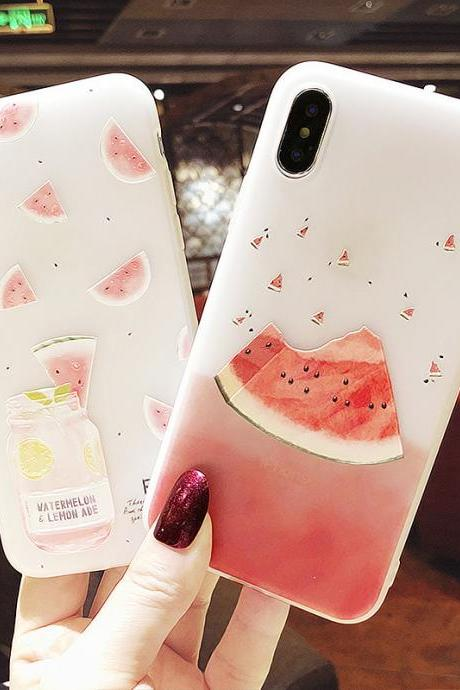 Summer Watermelon Phone Case For iPhone 12 11 Pro Max X XR XS Max 12 Mini 7 8 Plus TPU Soft phone cover for iPhone 6 6s Plus